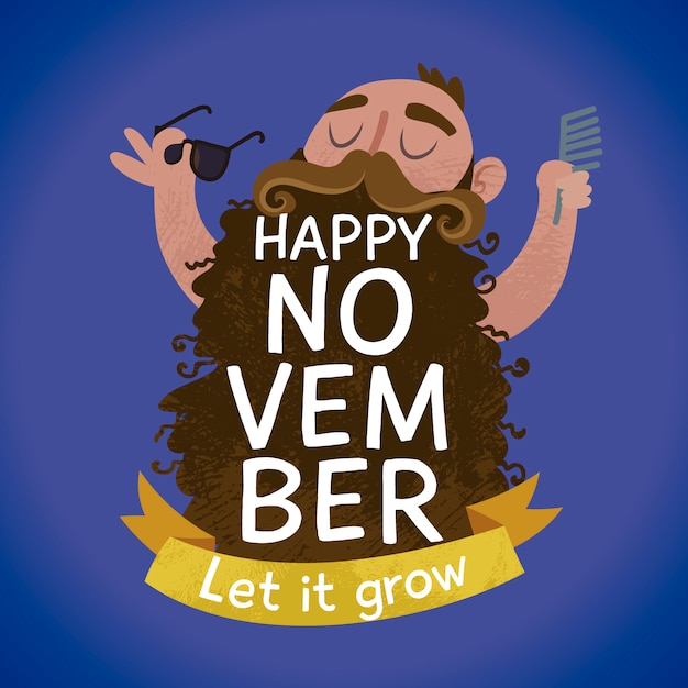 Funny movember background Free Vector