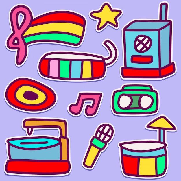 Funny music doodle design Premium Vector