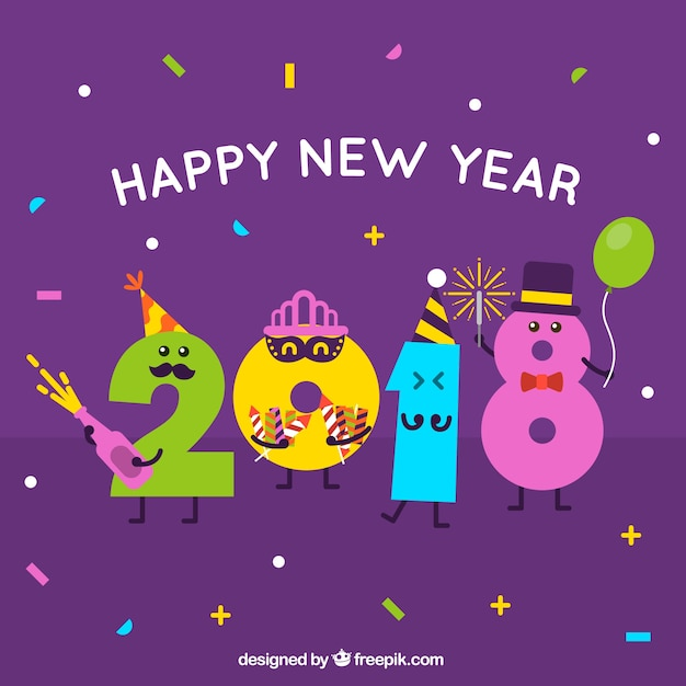 Funny new year 2018 background Vector | Free Download