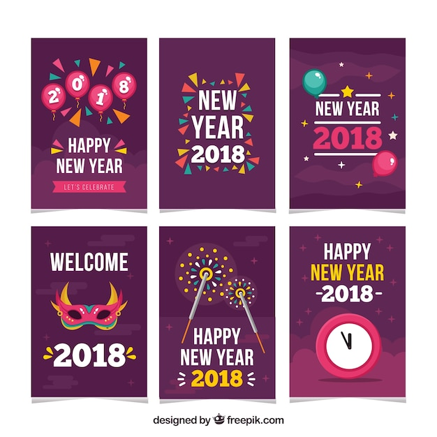 funny new year 2018 cards vector free download