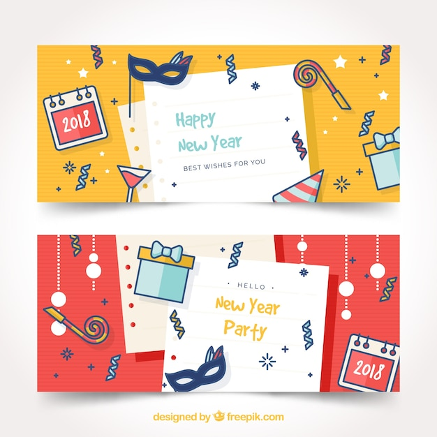 Funny new year 2018 party banners Vector | Free Download
