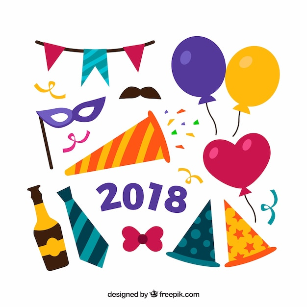 Funny new year 2018 party element collection Vector | Free Download