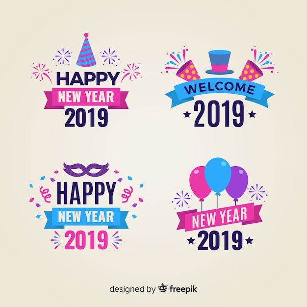 Funny new year badges collection Free Vector