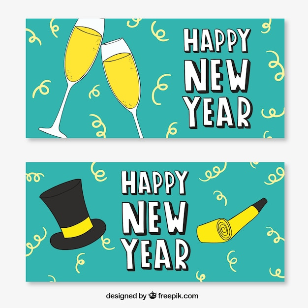 Funny new year banners Vector | Premium Download