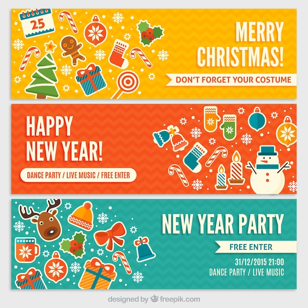 funny new year party invitations free vector