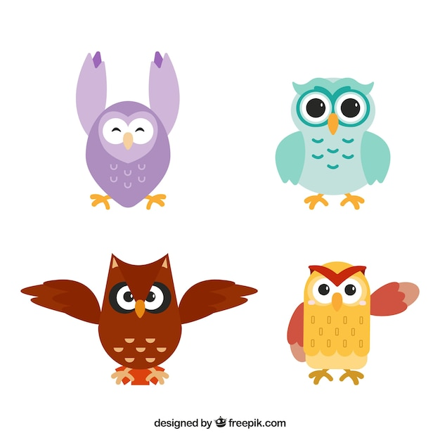Owl Logo Set Of Eight: Funny Owl Pack Vector