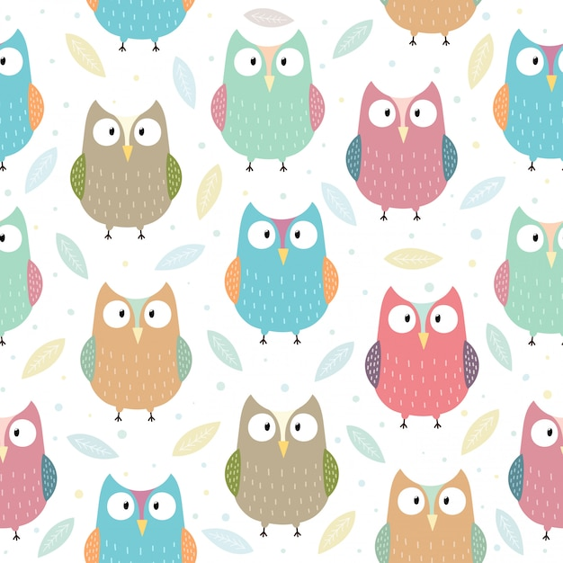 Funny owls seamless pattern illustration Premium Vector