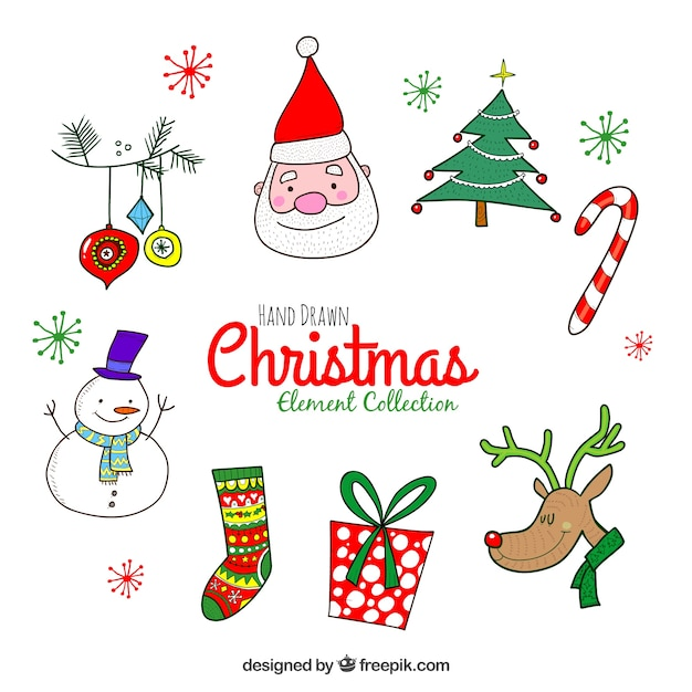Funny pack of hand drawn christmas elements Free Vector
