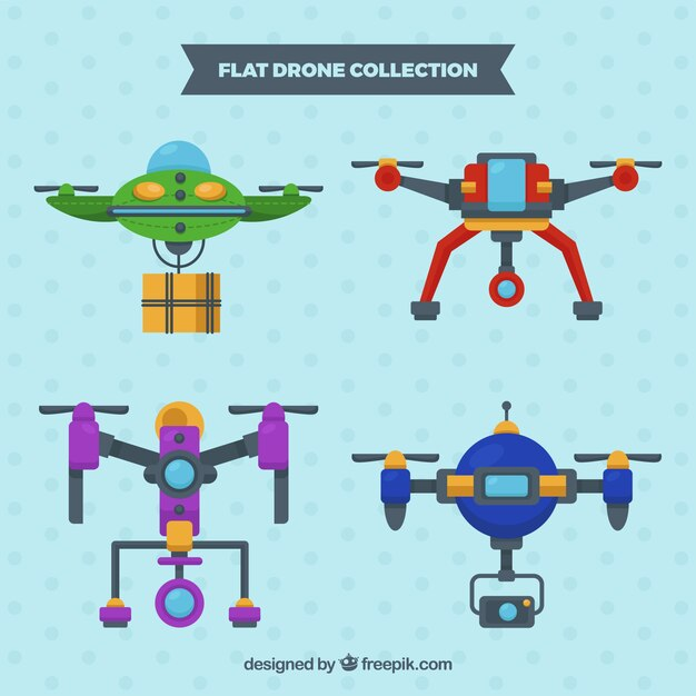 Funny pack of colorful drones