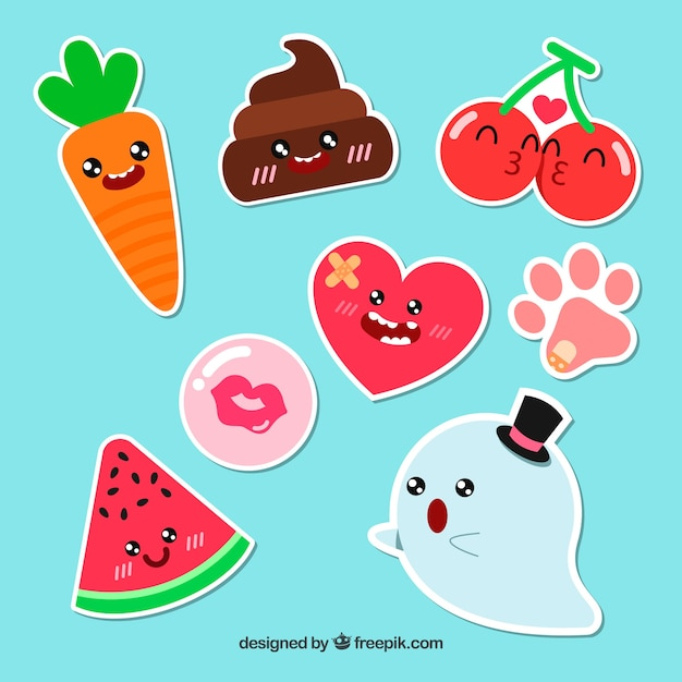 Funny pack of original stickers Free Vector