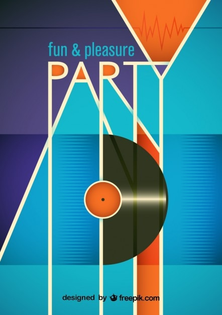 Funny party poster with a vinyl record vector free download - Posters y vinilos ...