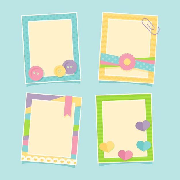 Funny pastel photo frames pack Vector | Free Download