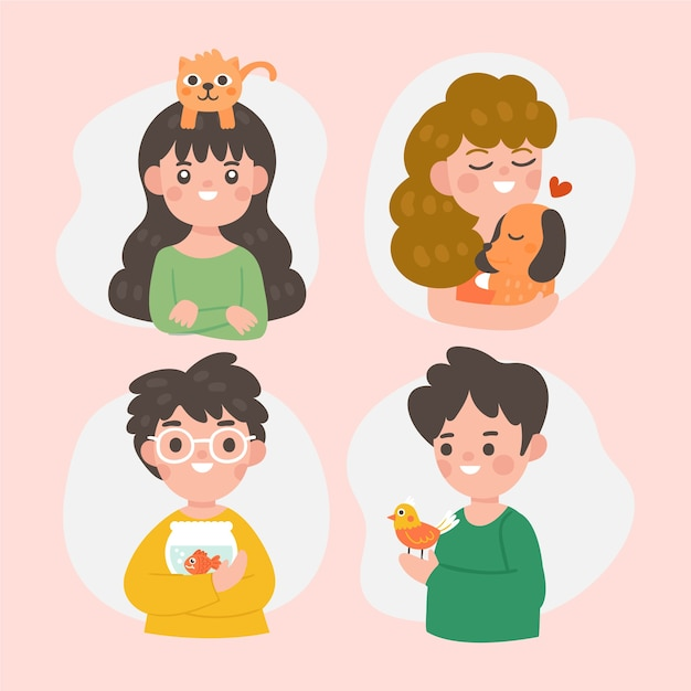 Funny people avatar with their pets Free Vector