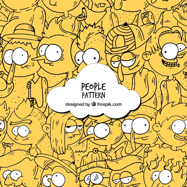 Funny people pattern with hand drawn style Free Vector