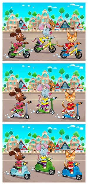 Funny pets are riding bikes