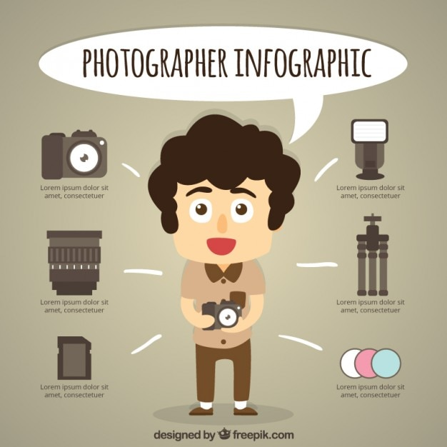Funny Photographer Infography Vector Free Download