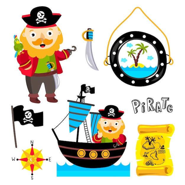 Funny pirate elements isolated Premium Vector
