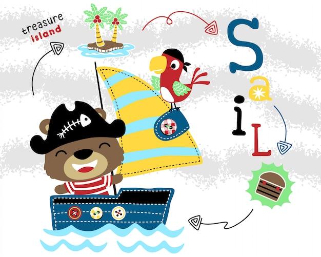 Funny pirates cartoon on sailboat Premium Vector