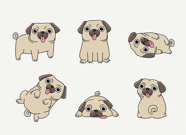 Funny pug in different pose set Premium Vector