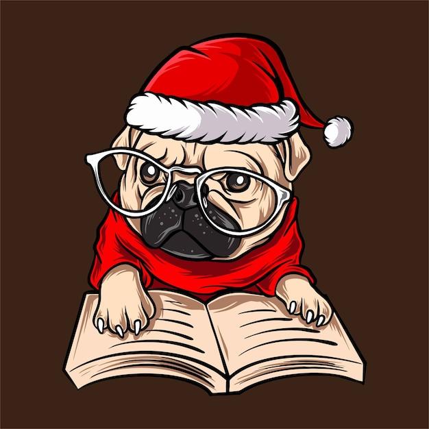 Забавный мопс в очках в рождественском костюме санта клауса Premium векторы
