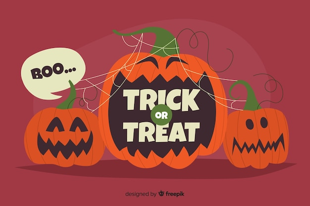 Funny pumkins faces background Free Vector