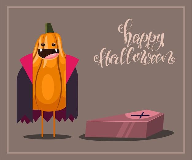 棺とテキストハッピーハロウィンと吸血鬼の衣装で面白いカボチャのキャラクター。背景のイラスト。 Premiumベクター