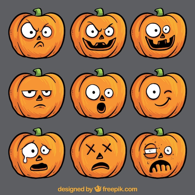 Funny pumpkin faces collection vector premium download for Funny pumpkin drawings
