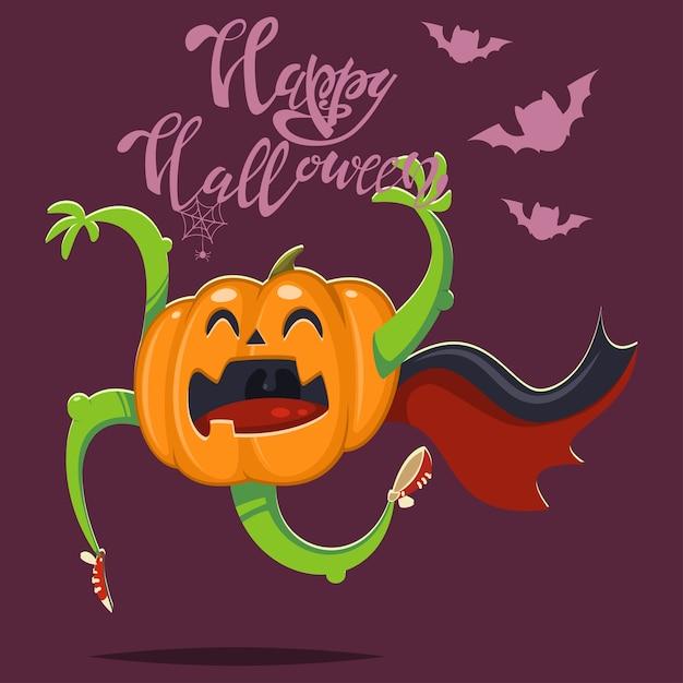 박쥐와 뱀파이어 망토에 재미있는 호박. 야채 캐릭터와 손 텍스트 할로윈 그림입니다. 프리미엄 벡터