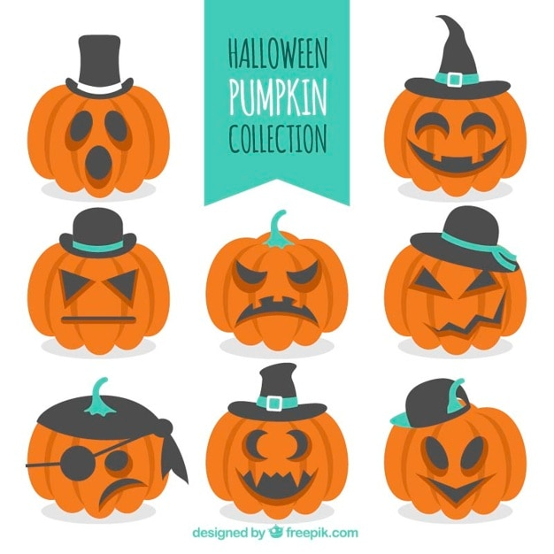 Funny pumpkins with hats