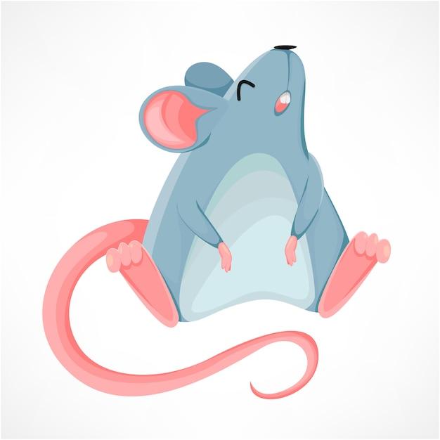 Funny rat cartoon character, year of the rat Premium Vector