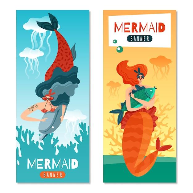 水中の海の生き物と面白い赤髪人魚2カラフルな垂直バナーセット 無料ベクター