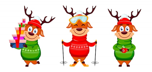 Funny reindeer, set of three poses Premium Vector