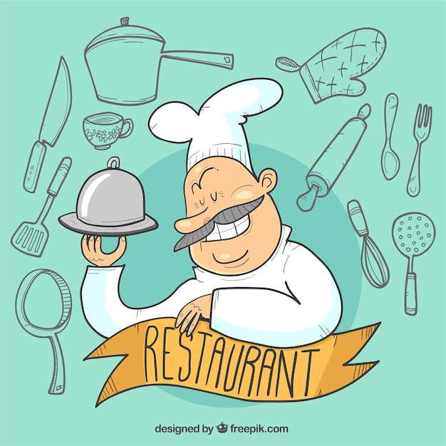 Funny restaurant background Free Vector