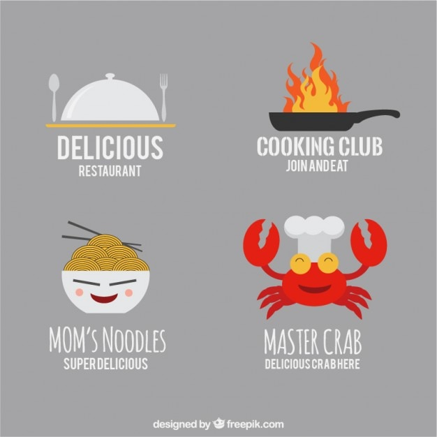 funny restaurant logo templates vector free download