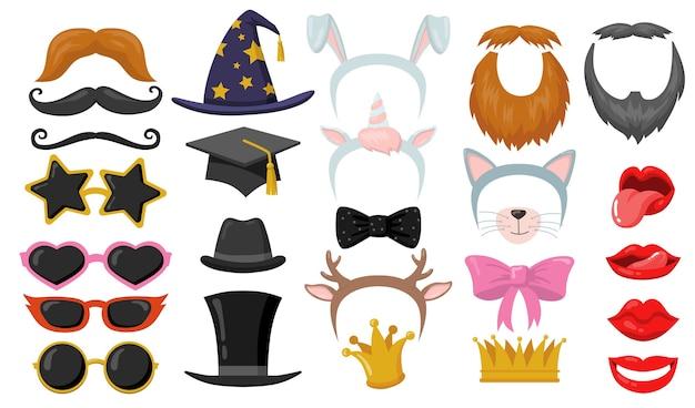 Забавный ретро набор плоских элементов партии photobooth. мультяшные повязки, кошачьи уши, очки, шляпы, маски для лица изолировали коллекцию векторных иллюстраций. карнавальные аксессуары и забавная концепция Бесплатные векторы