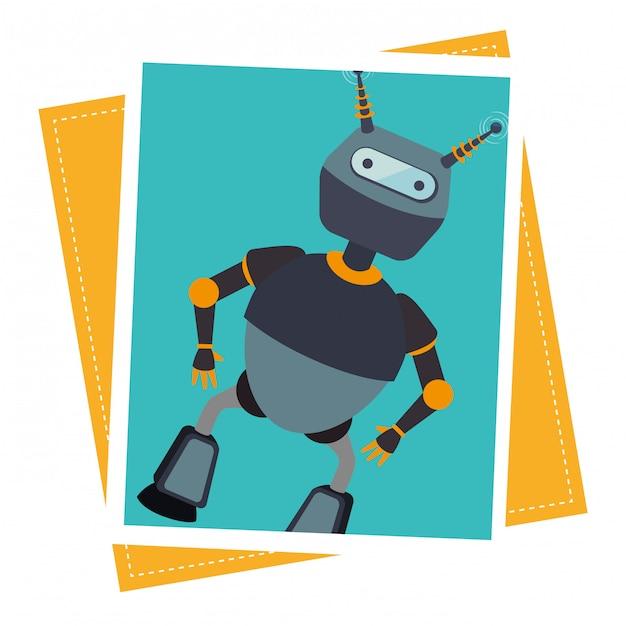 Funny robot cartoon Free Vector