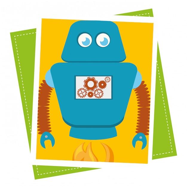 Забавный мультяшный робот Бесплатные векторы