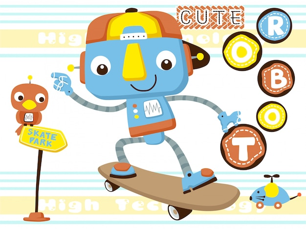 Funny robot playing skateboard Premium Vector