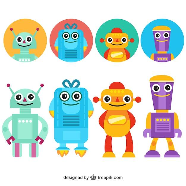 Funny robots avatars Free Vector
