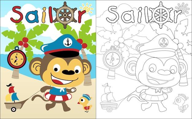 Funny sailor cartoon in the beach Premium Vector