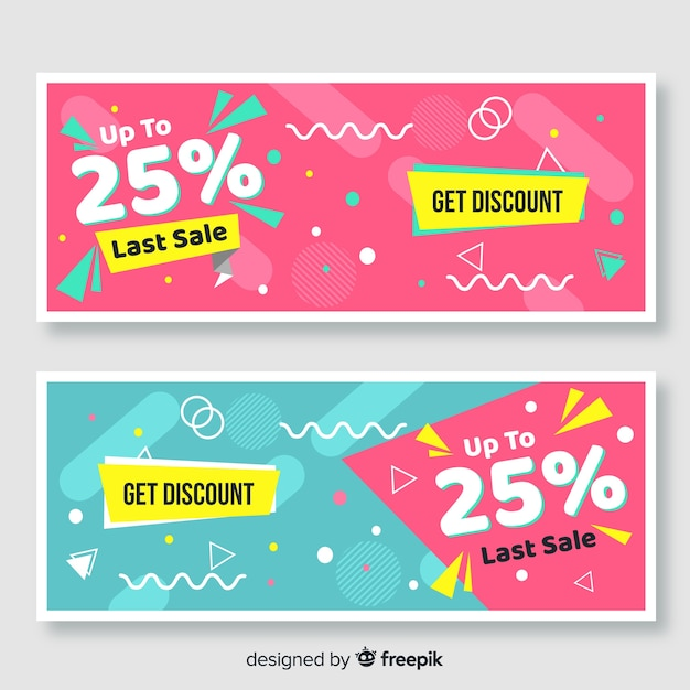 Funny sales banner set Free Vector