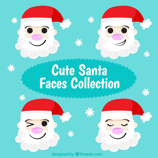 Funny santa claus character set