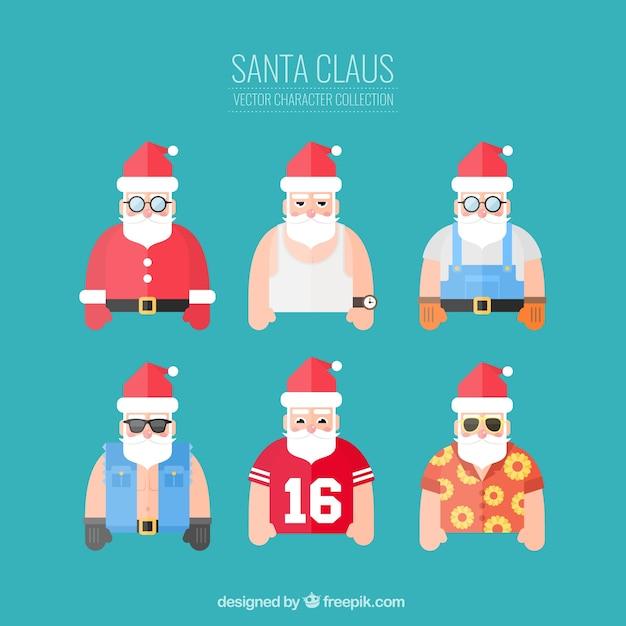 Funny santa claus characters Premium Vector