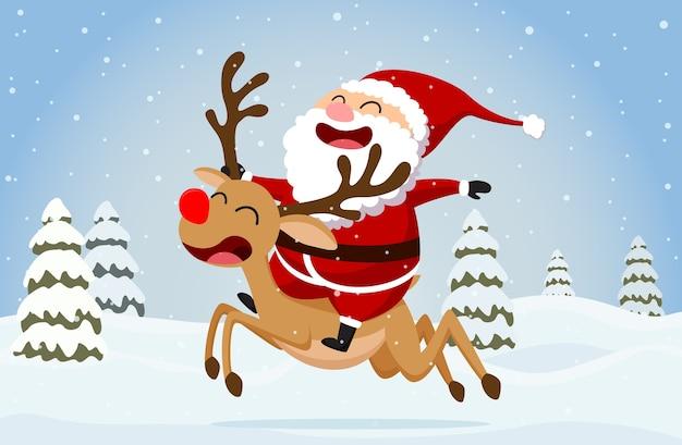 Funny santa claus and reindeer Premium Vector
