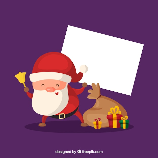 Funny santa claus with blank sign
