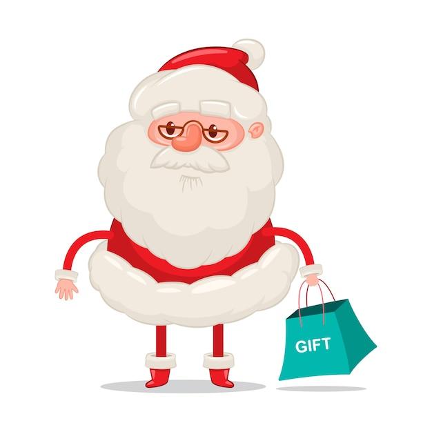 白い背景の上のショッピングバッグクリスマスの漫画のキャラクターと面白いサンタクロース。 Premiumベクター