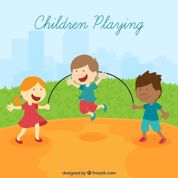 Funny scene of children playing in flat design Free Vector