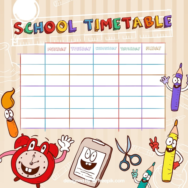 Funny school timetable template