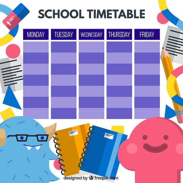 Funny school timetable with nice monsters Vector – School Time Table Designs