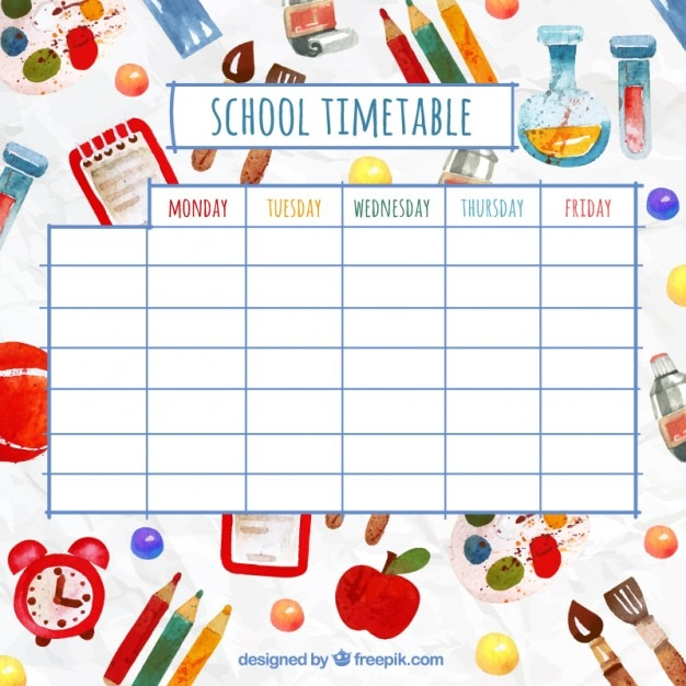 Timetable Vectors Photos and PSD files – School Time Table Designs